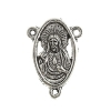 Connector- Religious Sacred Heart 15x20mm Antique Silver 10pcs